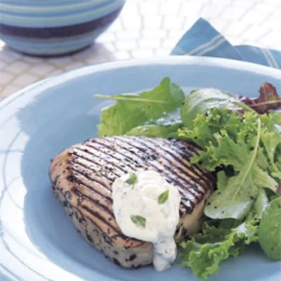 Grilled Tuna with Herbed Aïoli recipe | Epicurious.com