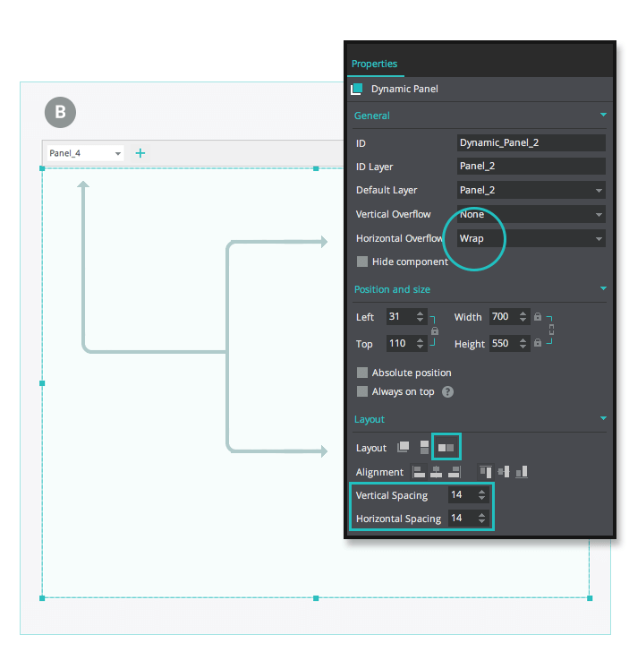 Expandable grids with wrappable UI elements web wireframe properties