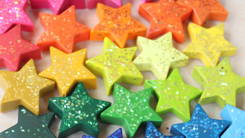 Star Shaped Glitter Crayons Martha Stewart