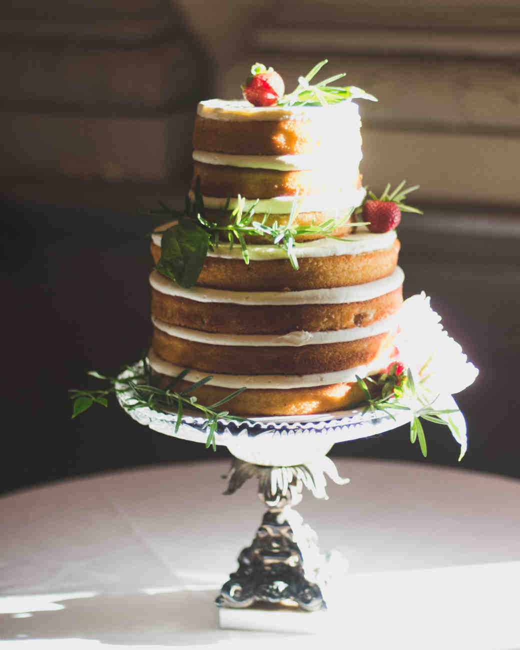 8 Wedding Cake Flavors You Haven t Tried Yet   Martha Stewart Weddings Lemon Basil Naked Cake with Strawberry Compote and Cream Cheese Frosting