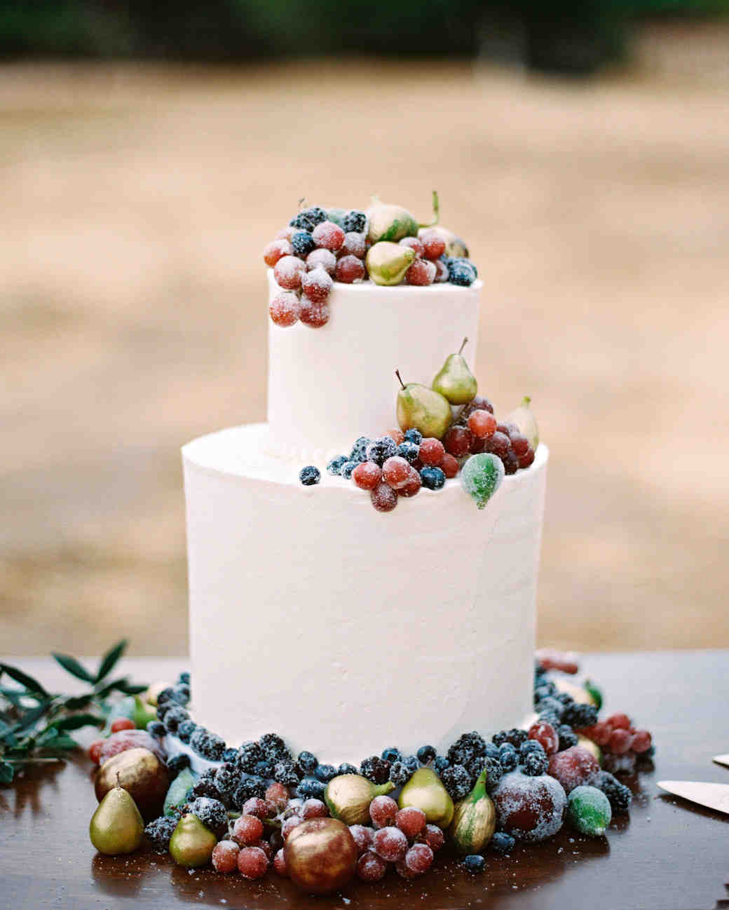 42 Fruit Wedding Cakes That Are Full of Color  and Flavor     Martha     Wedding Cake with Berries  Grapes  Figs  and Pears