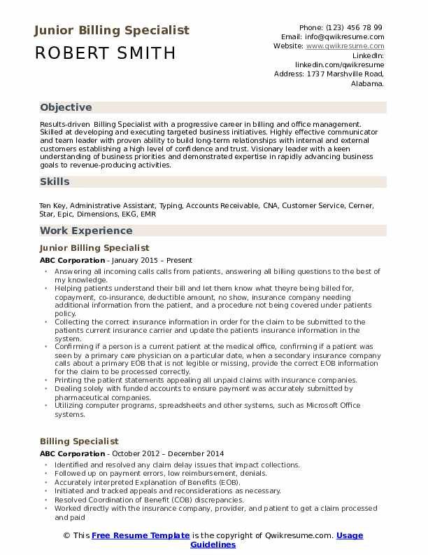 Billing Specialist Resume Samples Qwikresume