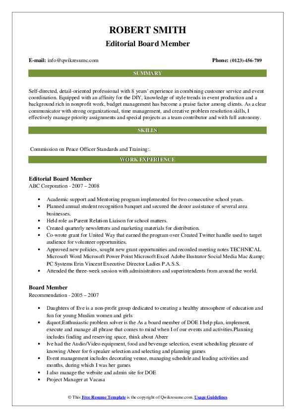 Board Member Resume Samples Qwikresume