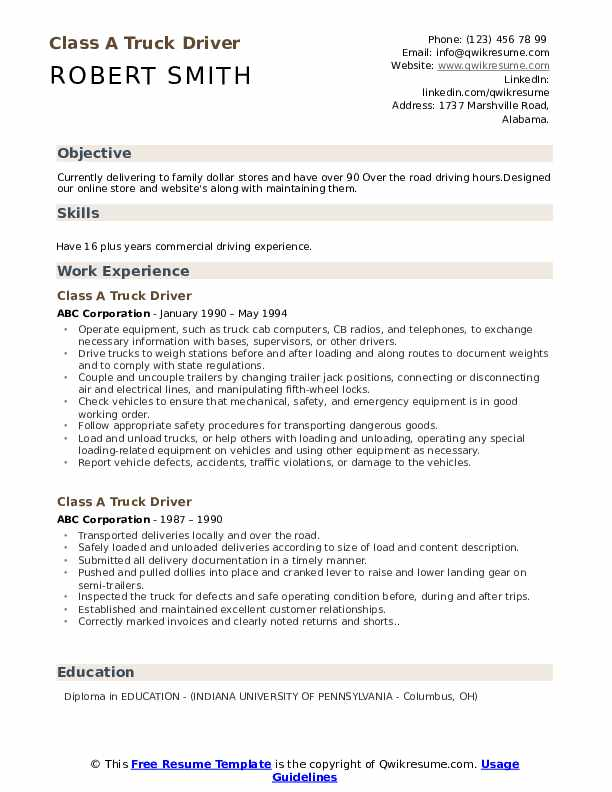 Class A Truck Driver Resume Samples Qwikresume