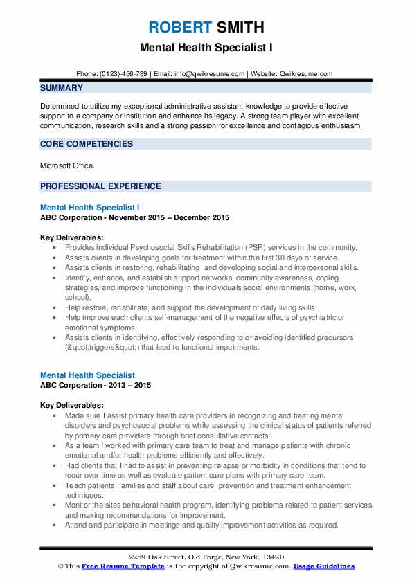 Mental Health Specialist Resume Samples Qwikresume