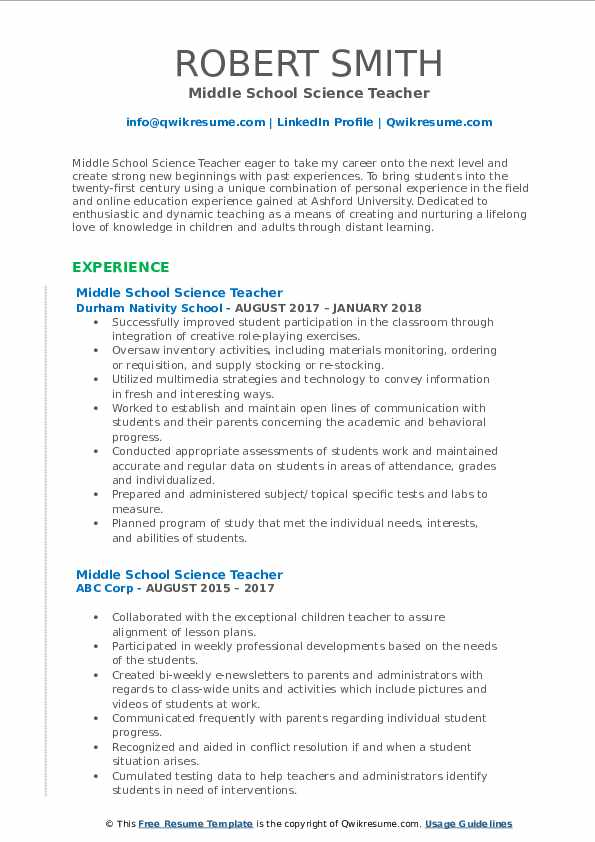 Middle School Science Teacher Resume Samples Qwikresume