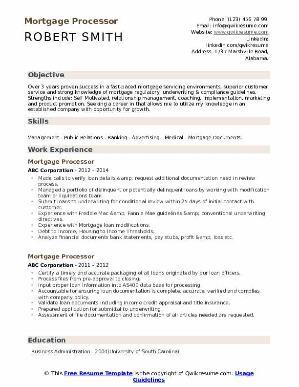 Mortgage Processor Resume Samples Qwikresume