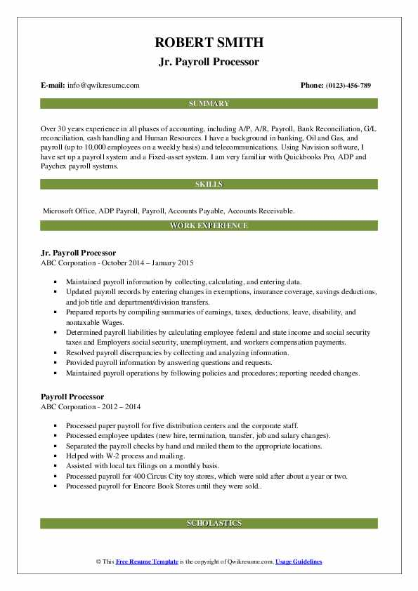 Payroll Processor Resume Samples Qwikresume