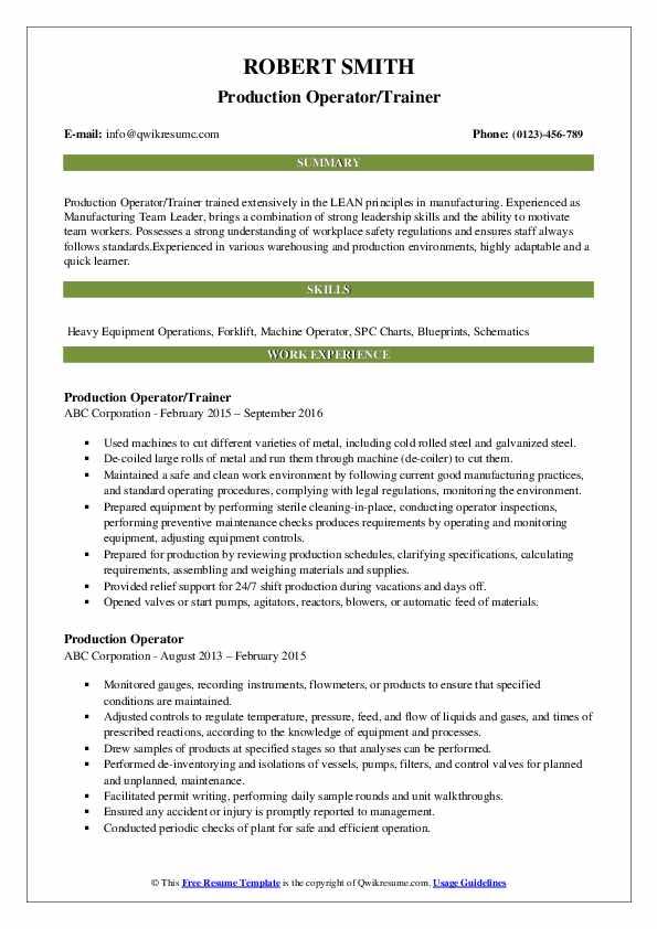 Oilfield Production Operator Resume
