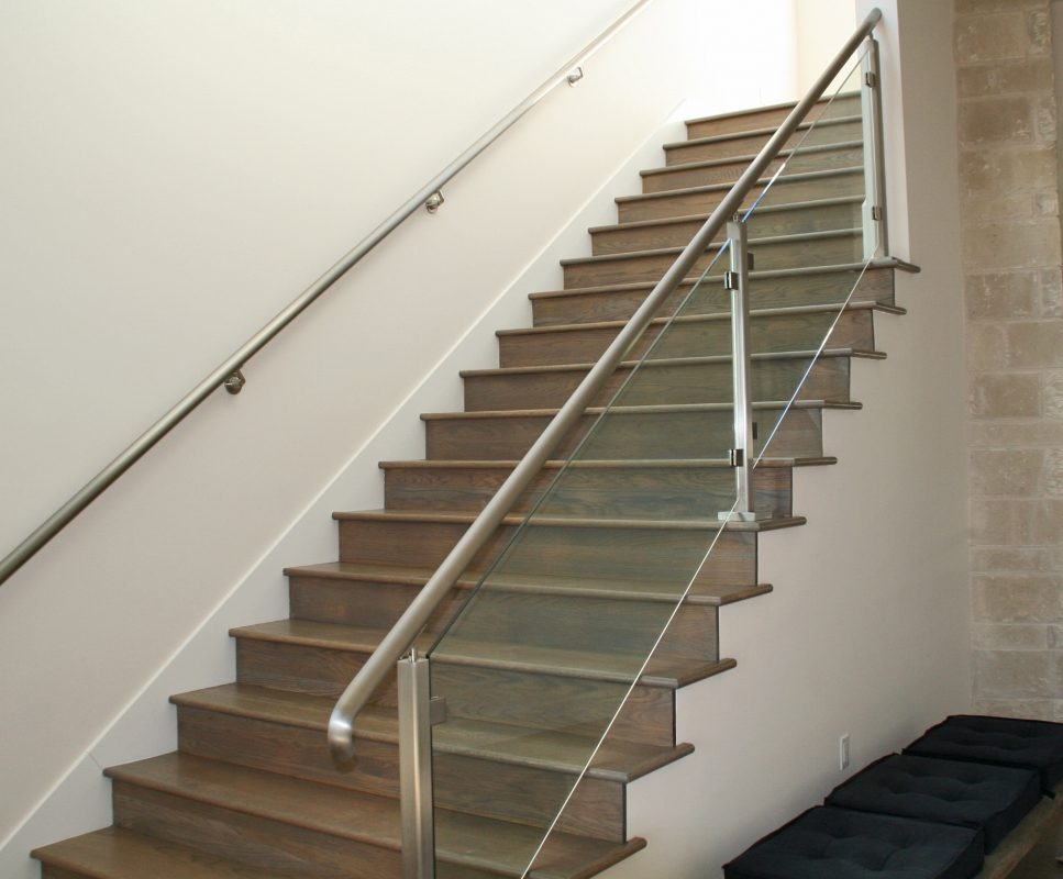 Glass Handrail Systems Residential Gallery Anchor Ventana Glass | Staircase Handrail Glass Designs | Frosted Glass | Curved | Glass Baluster | Glass Painting | Glass Etching