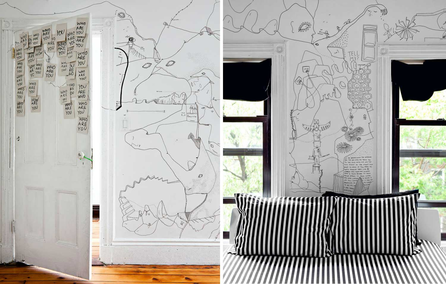 Stories On Design by Yellowtrace  Illustrated Interiors  Shantell Martin Illustrated Brooklyn Apartment   Yellowtrace