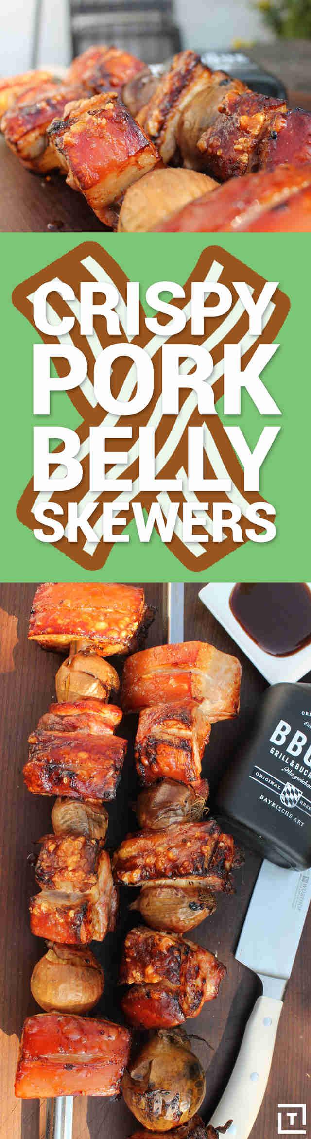Crispy Pork Belly Skewers Recipe Video Thrillist