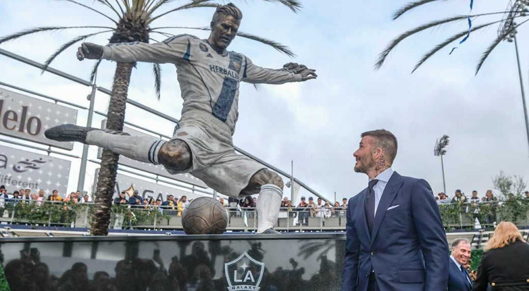 LA Galaxy unveil statue of Beckham before win over Chicago ...