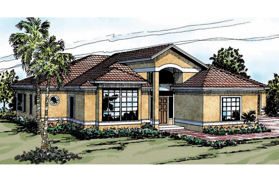 Mediterranean House Plans   Odessa 11 021   Associated Designs Mediterranean House Plan   Odessa 11 021   Front Elevation