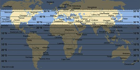 custom star charts   This map shows that by centering on 40 degree north latitude as a viewing  location our