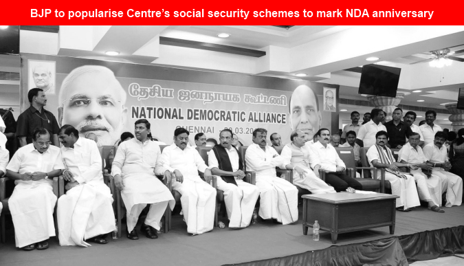 BJP to popularise Centre's social security schemes to mark NDA anniversary