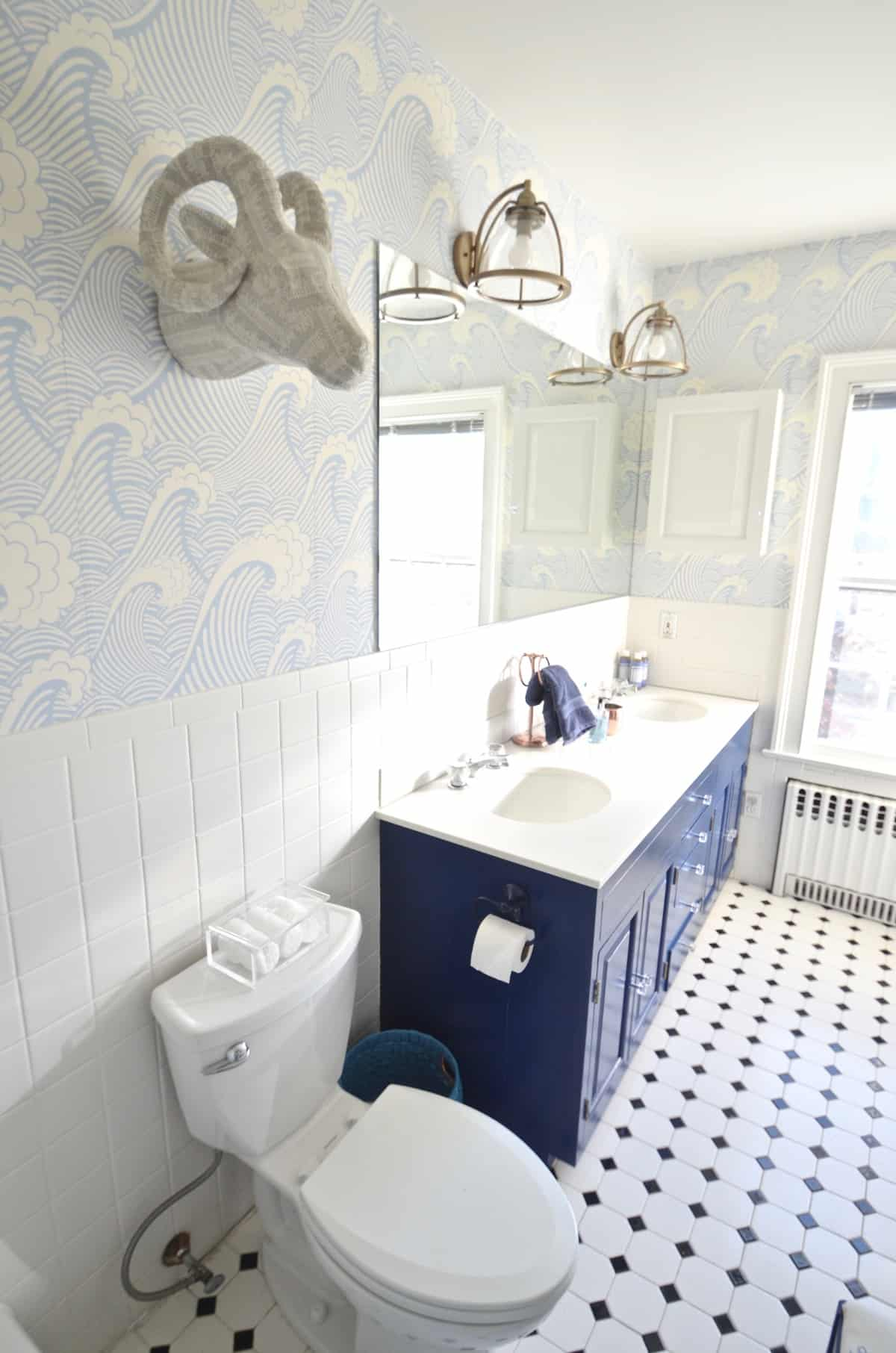 How To  Removable Wallpaper   At Charlotte s House Updated kids bathroom with wallpaper and new pendant lights