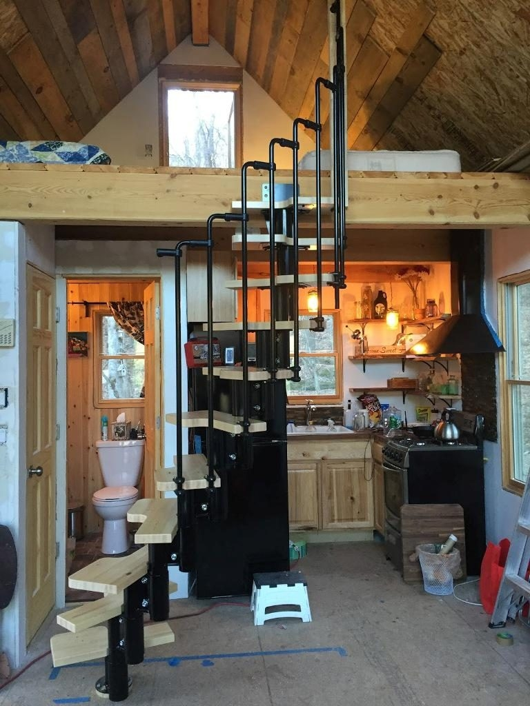 Creative Ideas For Building Tiny House Stairs — Tiny Houses   Tiny Home Spiral Staircase   Multi Purpose   Stair   Creative   Bedroom   Rooftop Deck