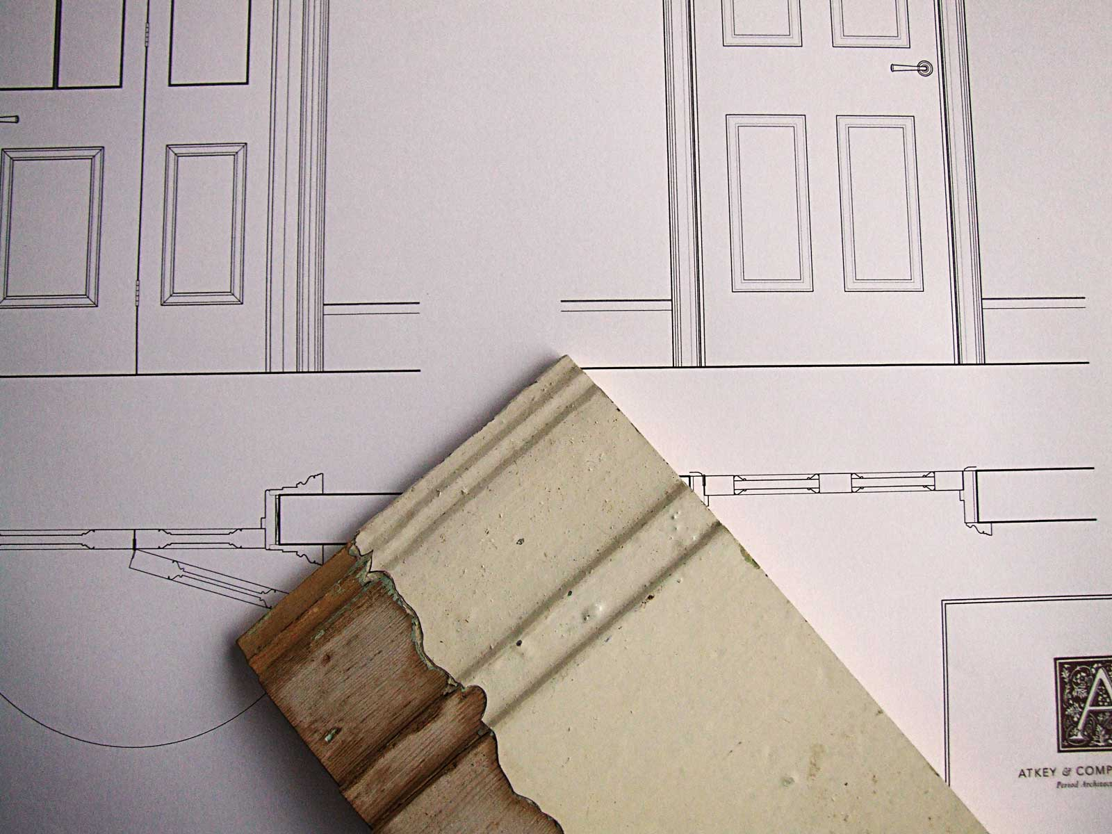 Architectural plans based on historic samples of mouldings that now make up our unique catalogue