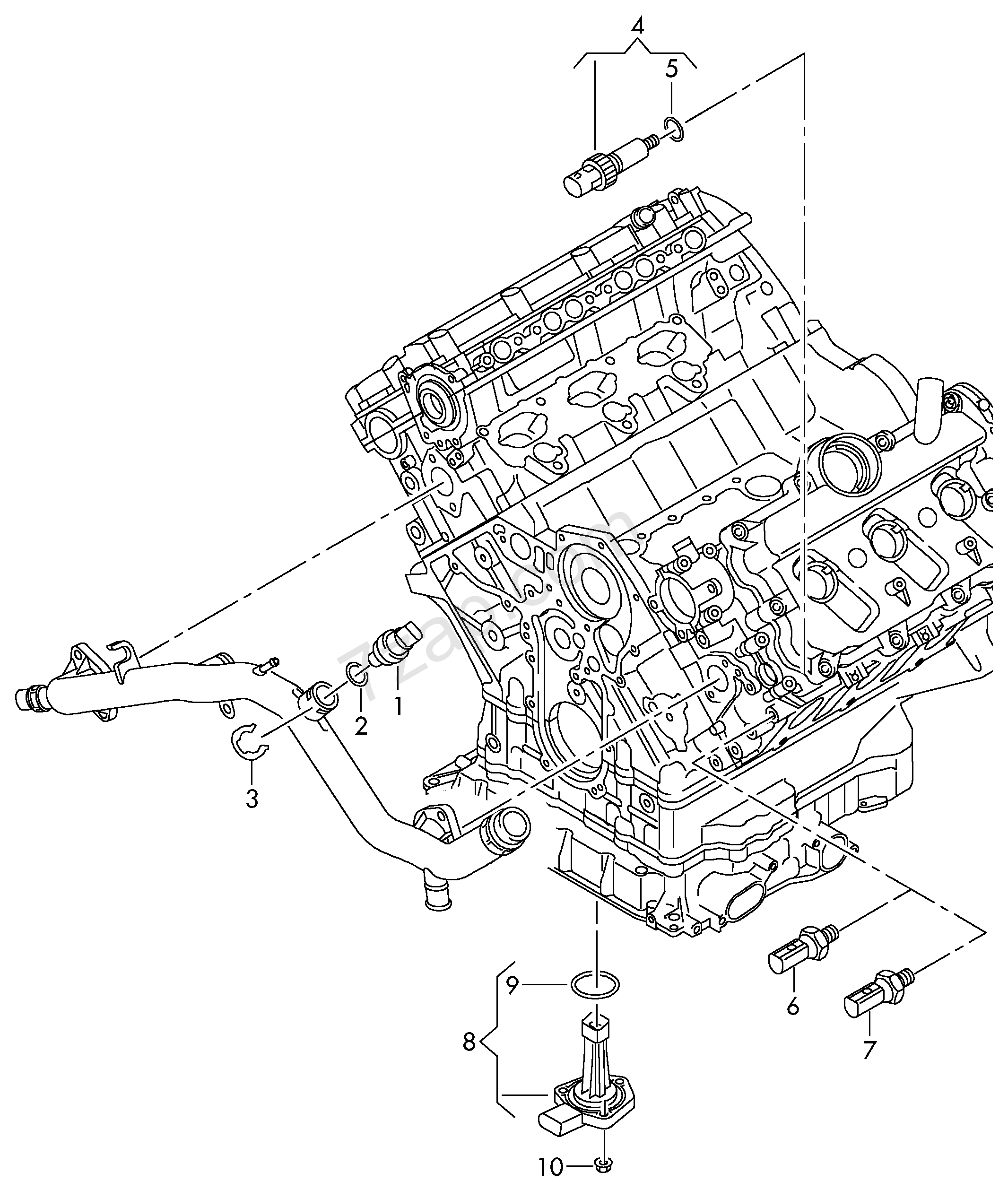 Switches and senders on engine audi a4 s4 avant quattro a4q europa 2015 year