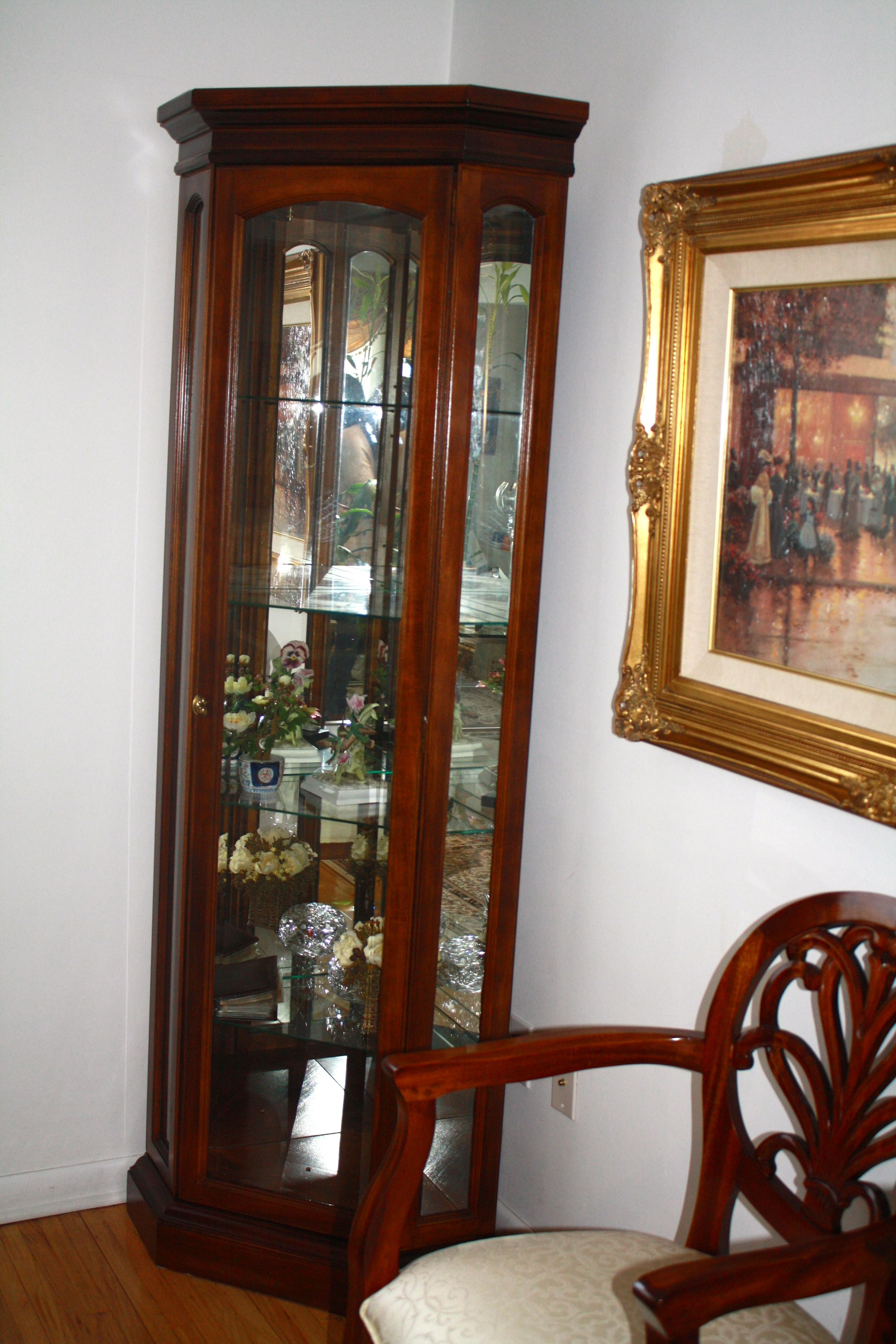 Lighted Curio Corner Cabinet 325 Aunt Mays Furniture Sale