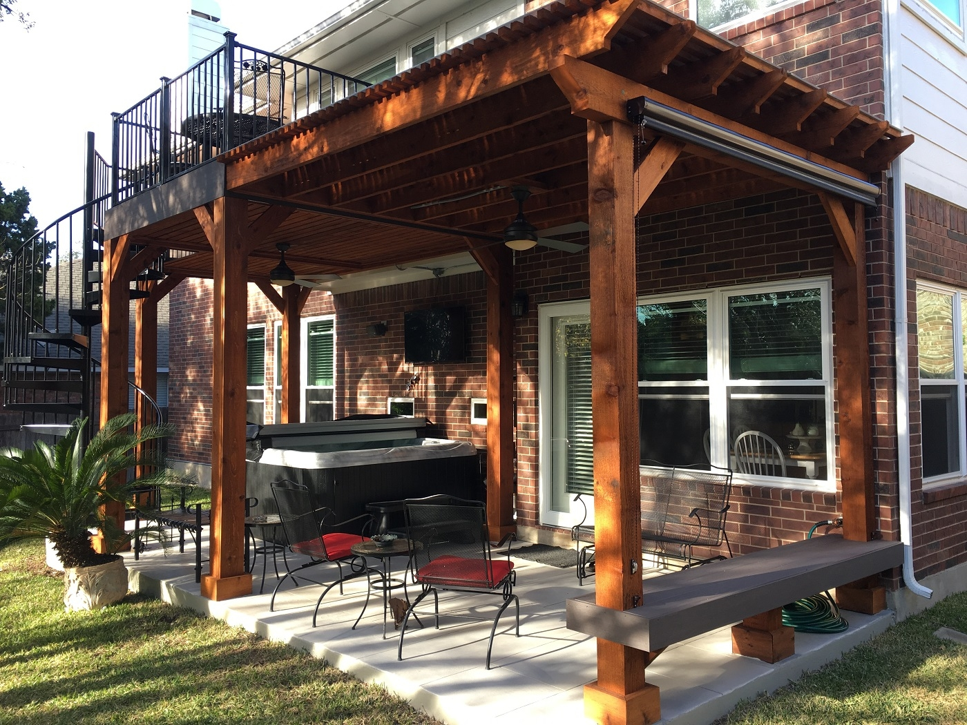 Austin Second Story Deck With Spiral Staircase Austin Decks | Outdoor Spiral Staircase For Deck | Farmhouse | Basement | Multi Level | 2Nd Floor | Steel