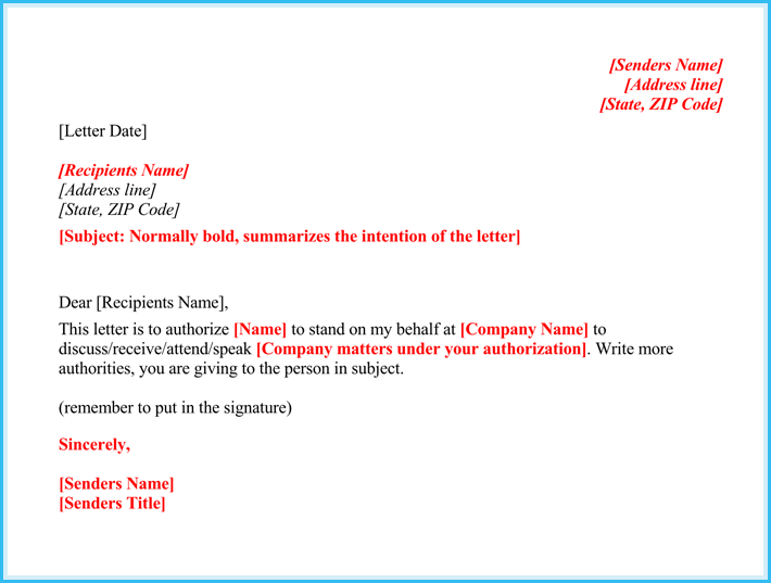Authorization Letter Medical Example