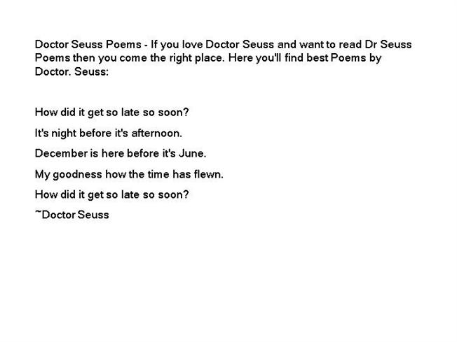 Dr Seuss Poetry About Love