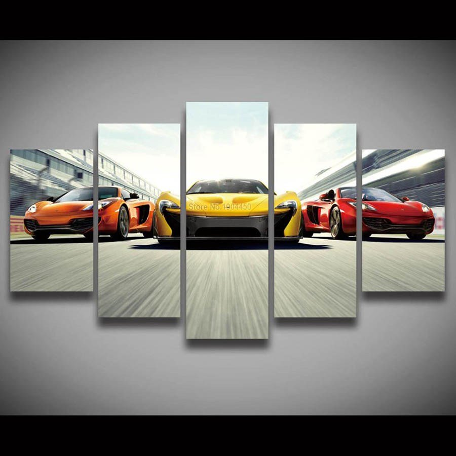 Latest 5 Panel Canvas Wall Art Race Car Painting Modular Picture Free Download