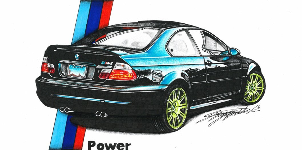 Latest Bmw E46 Car Drawing By Dusan Djordjevic Free Download
