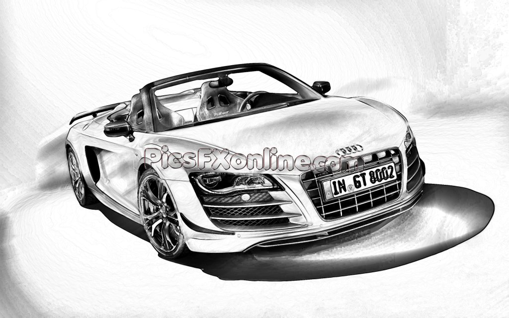 Latest Audi R8 Spyder Black And White Drawing Effect Drawings Free Download