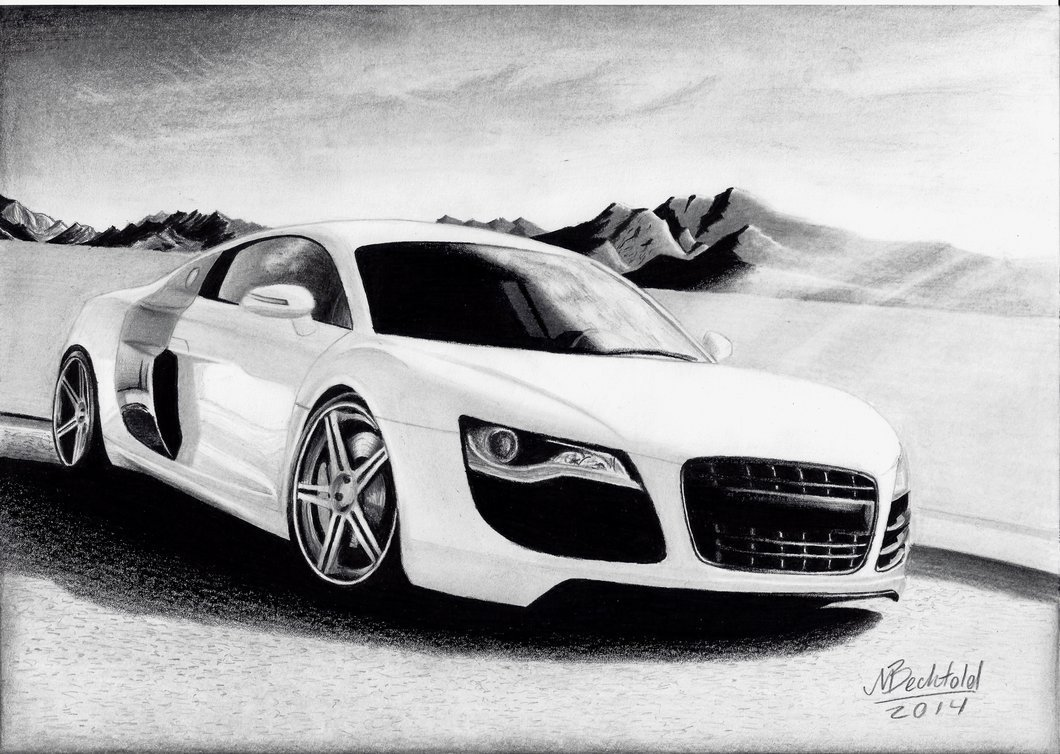 Latest Audi R8 White Mountains Realistic Car Drawing By Free Download
