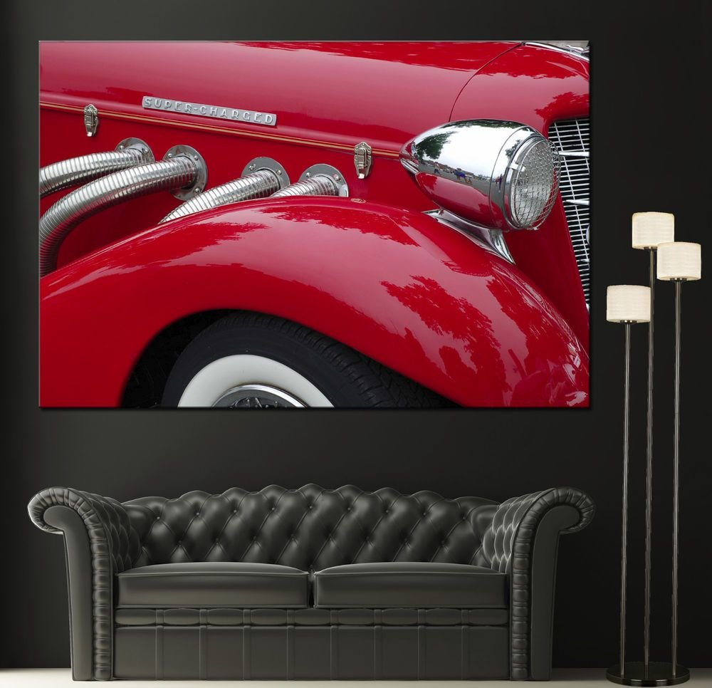 Latest Vintage Car Red Fender Canvas Wall Art Prints Auto Cars Free Download
