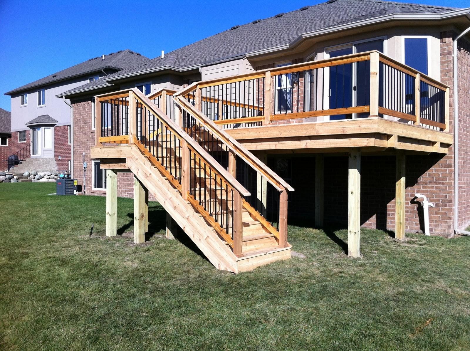 Chesterfield Twp Mi New Cedar Deck   Outdoor Deck Stair Railing