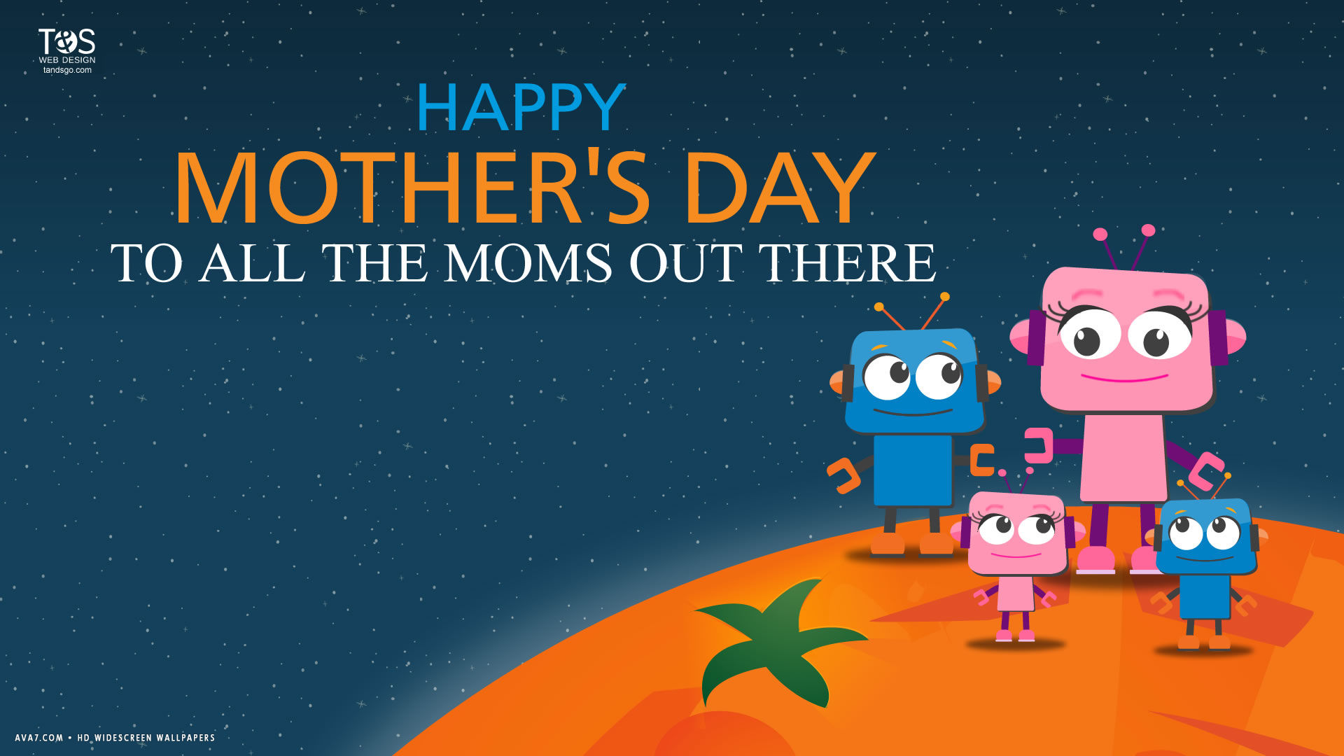 Happy Mothers Day Moms Robots Family Vector Illustration