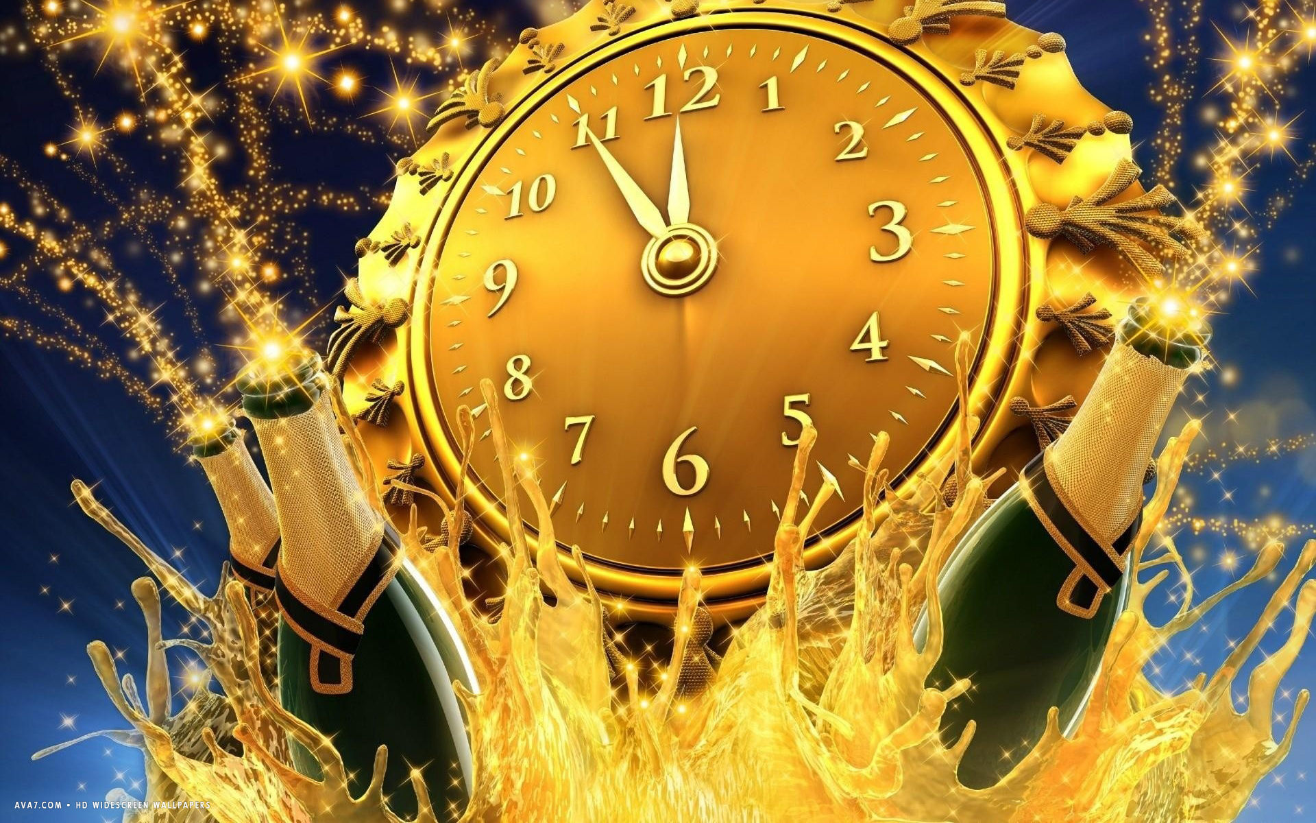new year clock midnight champagne splash celebration holiday hd     new year clock midnight champagne splash celebration holiday hd widescreen  wallpaper