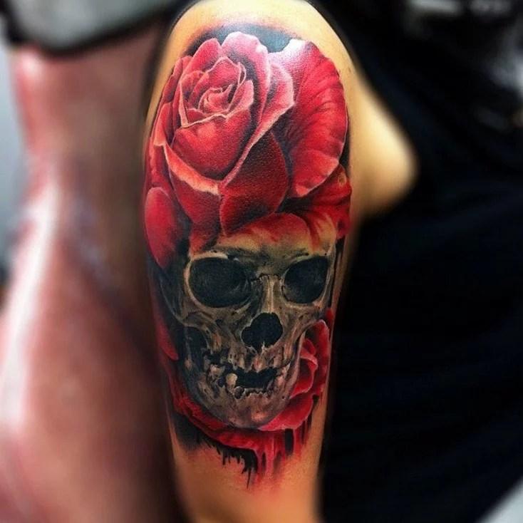 shoulder skull rose tattoo - 700×700