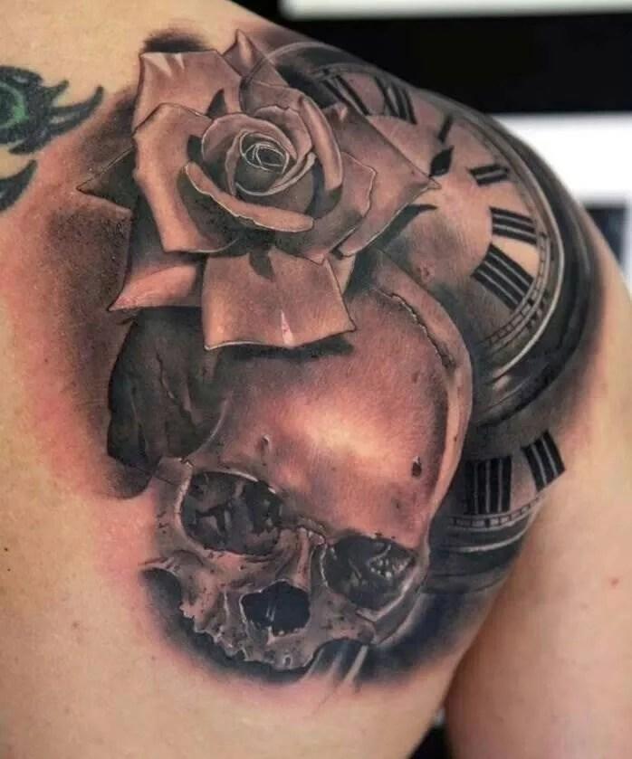 shoulder skull rose tattoo - 698×839