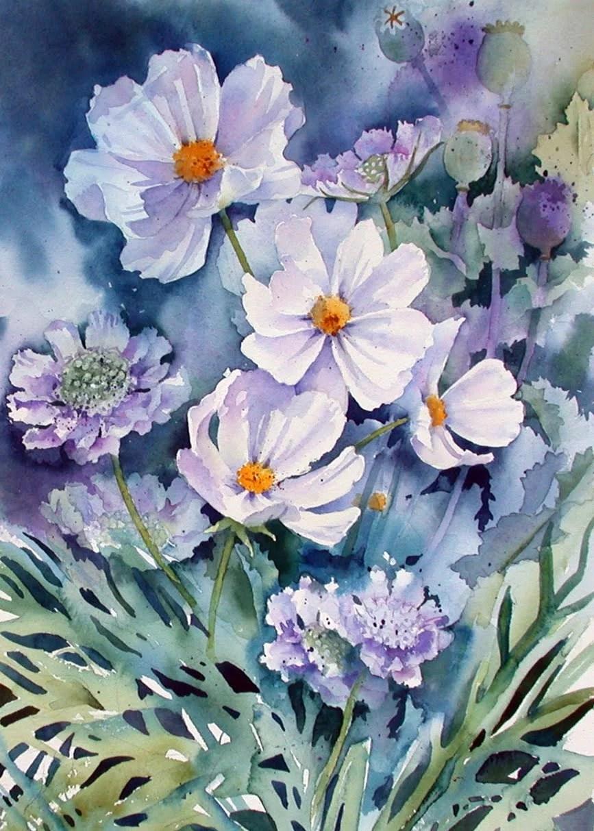 watercolor paintings of flowers - 736×1029