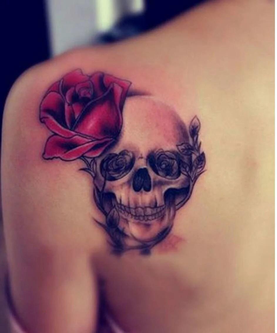 shoulder skull rose tattoo - HD943×1136