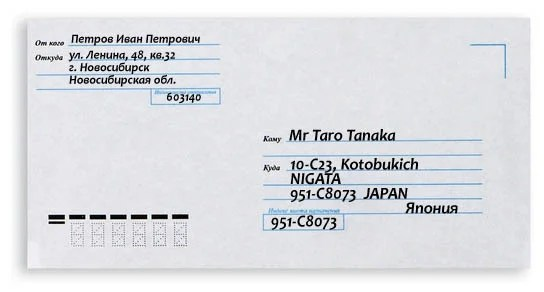 An example of a letter to Japan.