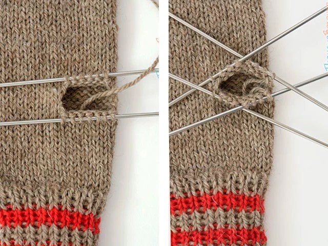 Mittens with knitting needles.
