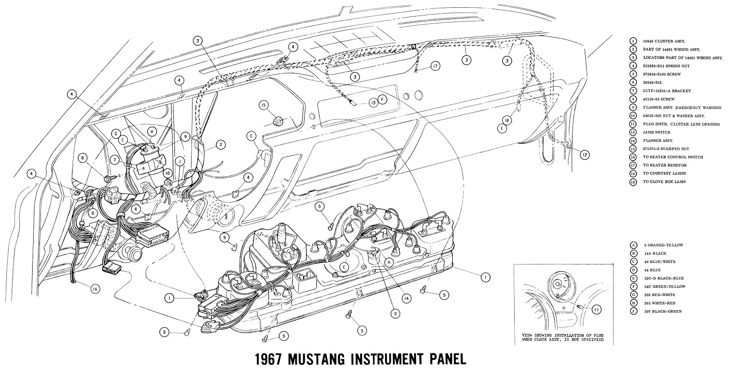 1967 mustang wiring and vacuum diagrams average joe restoration under dash wiring diagrams 7