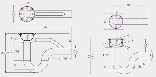 4 Floor Drain P Trap Dimensions