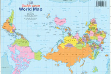 Upside down world map free 30 mb format pdf mobi view 5025 download high quality laminated large flat rolled map of the world 120 x 80cm supplied in durable plastic tube gumiabroncs Gallery