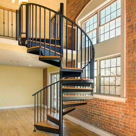 Indoor Spiral Staircases 5 000 Design Options Paragon Stairs | Iron Spiral Staircase For Sale | Grey Exterior | Wrought Iron | Ornate | Helical Staircase | Architectural Salvage