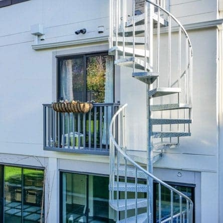 Outdoor Spiral Staircases Weatherproof Paragon Stairs | Exterior Metal Spiral Staircase | Rustic Metal | Deck | Crystal Handrail | Bar Modern | Railing
