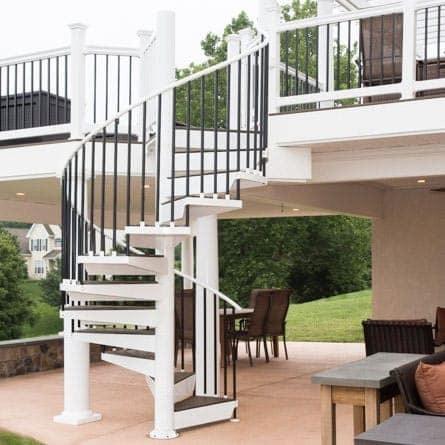 The Devon Composite Deck Spiral Stairs Paragon Stairs | Outdoor Spiral Staircase Home Depot | Reroute Galvanized | Handrail | Arke Nice1 | Arke Enduro | Galvanized Exterior