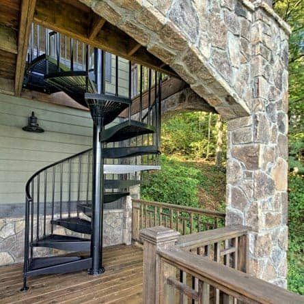 Spiral Staircases For Decks Patios Paragon Stairs | Spiral Staircase Outdoor Deck | Outside Deck | Built Spiral Stair | Balcony Outdoor | Log | 3 Storey