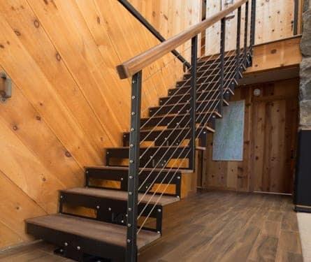Straight Staircase Stringer Types Paragon Stairs | 8 Step Wood Stair Stringer | Cedar Tone | Menards | Deck | Framing Square | Precut Prebuilt